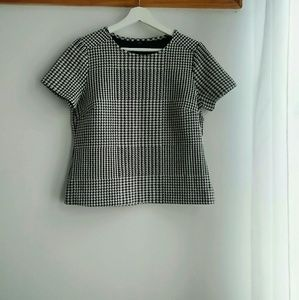 Ann Taylor Houndstooth Boxy Knit Top Size MP